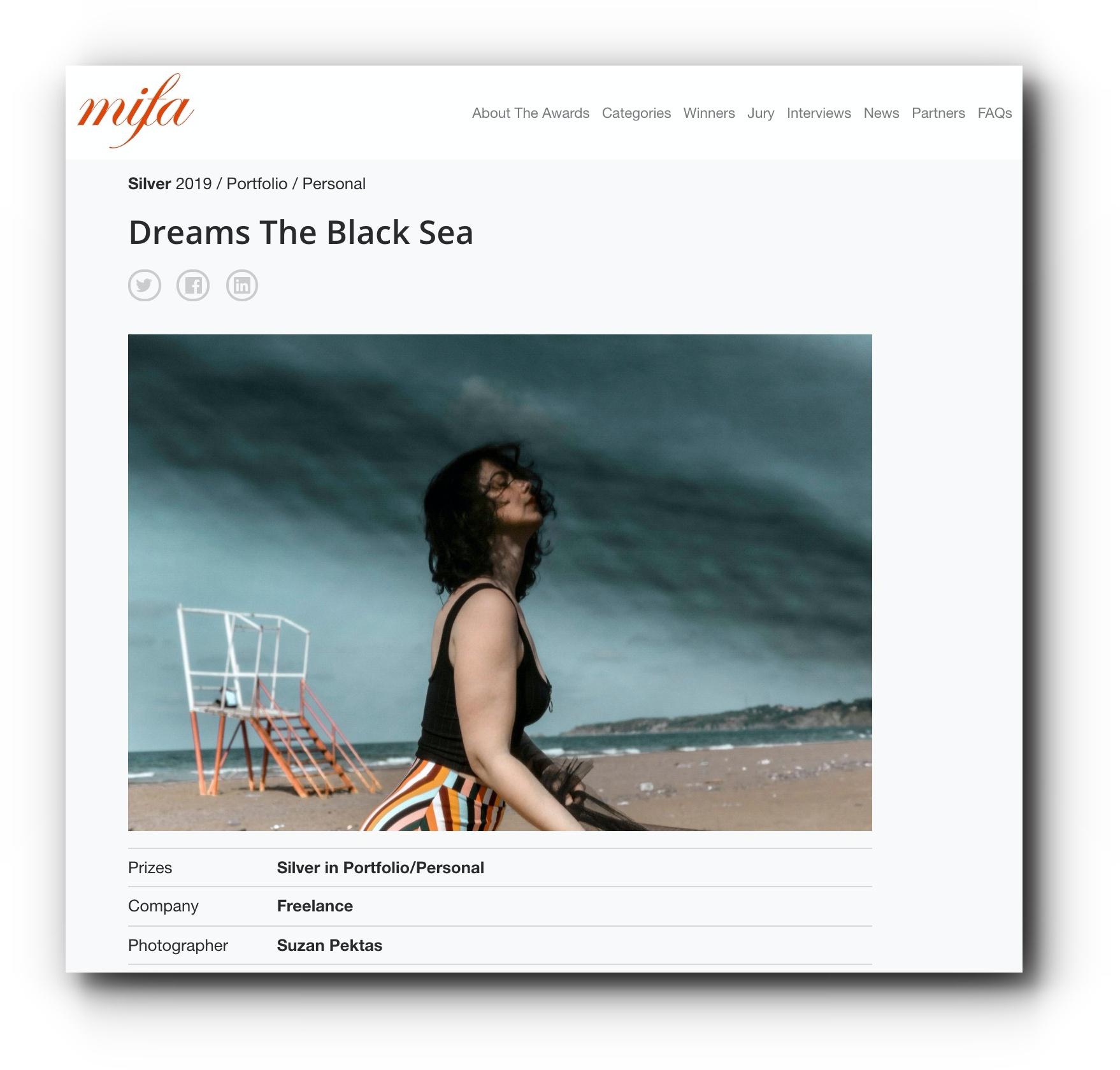 Dreams The Black Sea series received Silver Medal in Portfolio/Personal in MIFA 2019 - June, 2019